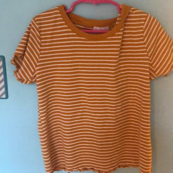 Heart & Hips Tops - Tight yellow and white striped shirt